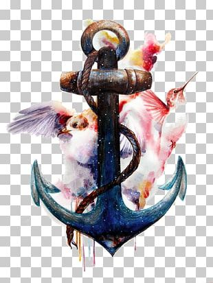 Anchor Watercolor Painting Tattoo Art PNG