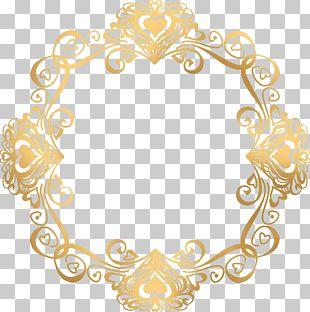 Wedding Invitation Gold Frame PNG