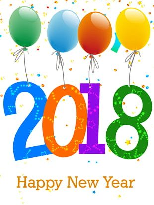 Happy New Year 2018 Balloons PNG