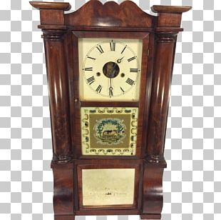 Mantel Clock Antique Cornice 1850s PNG