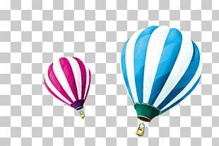 Hot Air Balloon Blue White PNG
