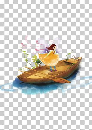 Watercolor Painting Boat Illustration PNG