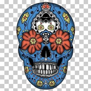 Calavera Mexican Cuisine Day Of The Dead Skull Blue PNG