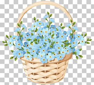 Floral Design Flower Basket Blue PNG