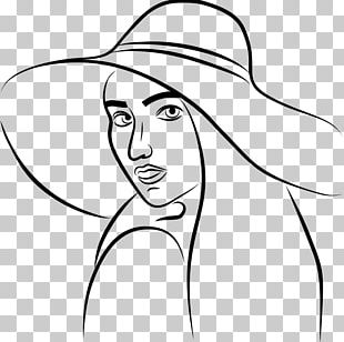 Line Art Woman With A Hat Drawing PNG