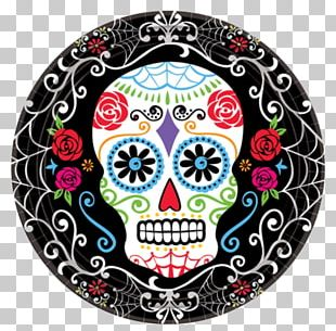 Calavera Day Of The Dead Cloth Napkins Plate Party PNG