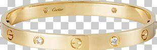 Love Bracelet Cartier Gold Diamond PNG