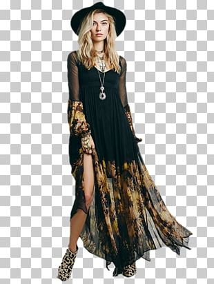 Boho-chic Maxi Dress Fashion Sleeve PNG