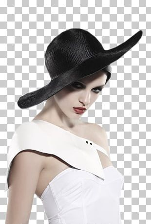 Woman With A Hat Black And White PNG