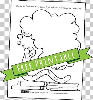 Bookworm Paper Coloring Book PNG