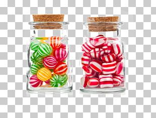 Candy Cane Candy Corn Jar Glass PNG