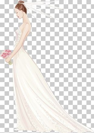 Contemporary Western Wedding Dress Bride Wedding Invitation PNG