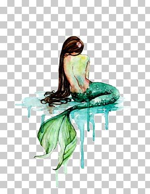 Mermaid Watercolor Painting Art PNG