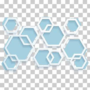 Hexagon Geometry Blue PNG