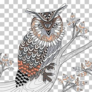 Great Horned Owl Bird Coloring Book PNG