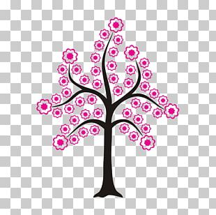 Sticker Flowering Plant Line Pink M PNG