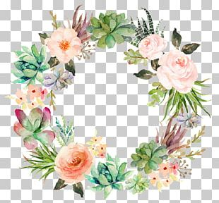 Wedding Invitation Paper Watercolor Painting Wreath Succulent Plant PNG