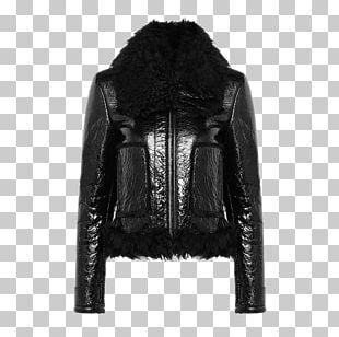 Leather Jacket Zipper Fur Clothing Outerwear PNG
