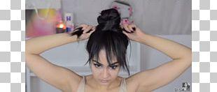 Long Hair Bangs Bun Hairstyle PNG