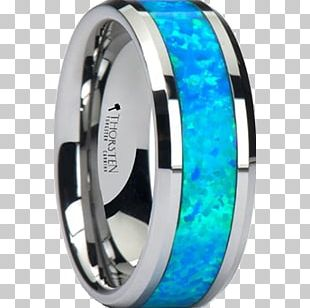 Inlay Tungsten Carbide Wedding Ring Opal PNG