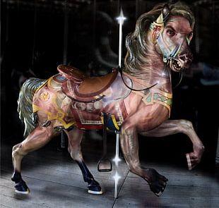 Horse Carousel Surrealism Art Amusement Park PNG