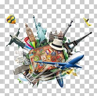 Eiffel Tower Statue Of Liberty Brazil Travel Suitcase PNG