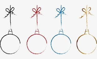 Freehand Line Drawing Colored Christmas Balls PNG