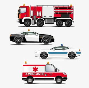 Hand-painted Cartoon Police Car Fire Engines And Emergency Vehicles PNG