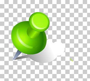 Drawing Pin Green PNG