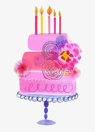 Painted Pink Birthday Cake PNG