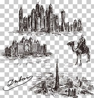 Dubai Drawing Skyline Illustration PNG