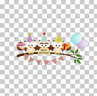 Owl Cartoon Birthday Greeting Card PNG