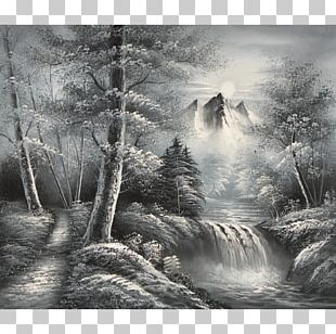 Black And White Oil Painting Photography PNG