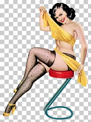 Pin-up Girl Decal Retro Style PNG