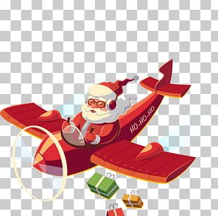 Santa Claus Airplane Christmas PNG