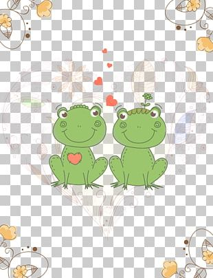 Frog Wedding Invitation Valentines Day Greeting Card Postcard PNG