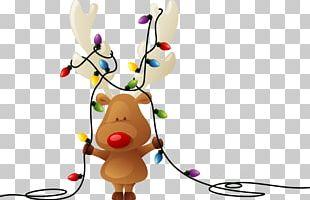 Rudolph Reindeer Santa Claus Christmas Card PNG