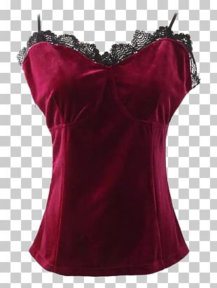 Velvet Corset Top Lace Sleeveless Shirt PNG