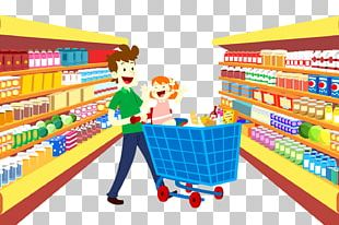 Grocery Store Supermarket Cartoon Shopping Bag PNG