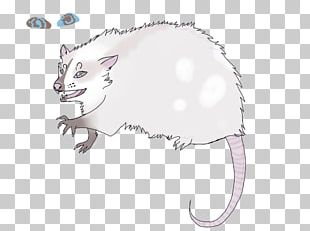 Whiskers Mouse Cat Line Art PNG