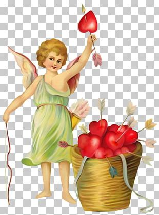 Victorian Era Valentine's Day Vinegar Valentines Cupid PNG