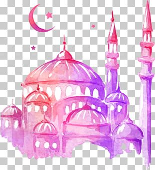 Ramadan Drawing Mosque Watercolor Painting PNG