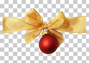 Ribbon Gold Christmas Ornament PNG