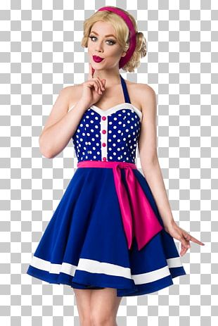 Polka Dot Blue Costume Pin-up Girl Dress PNG