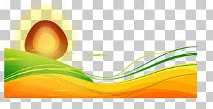 Morning Sun Cartoon Wavy Lines PNG
