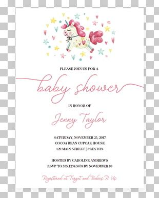 Wedding Invitation Baby Shower Flower Unicorn PNG