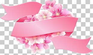 Pink Ribbon Pink Flowers PNG