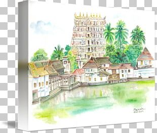 Padmanabhaswamy Temple Watercolor Painting Drawing Art Sketch PNG