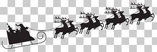 Santa Claus Sled Silhouette Reindeer PNG
