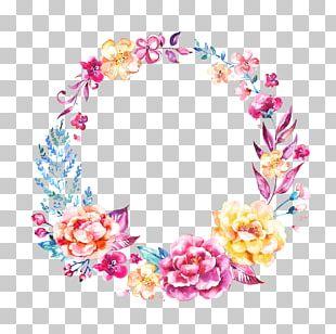 Wedding Invitation Logo Flower Garland Wreath PNG